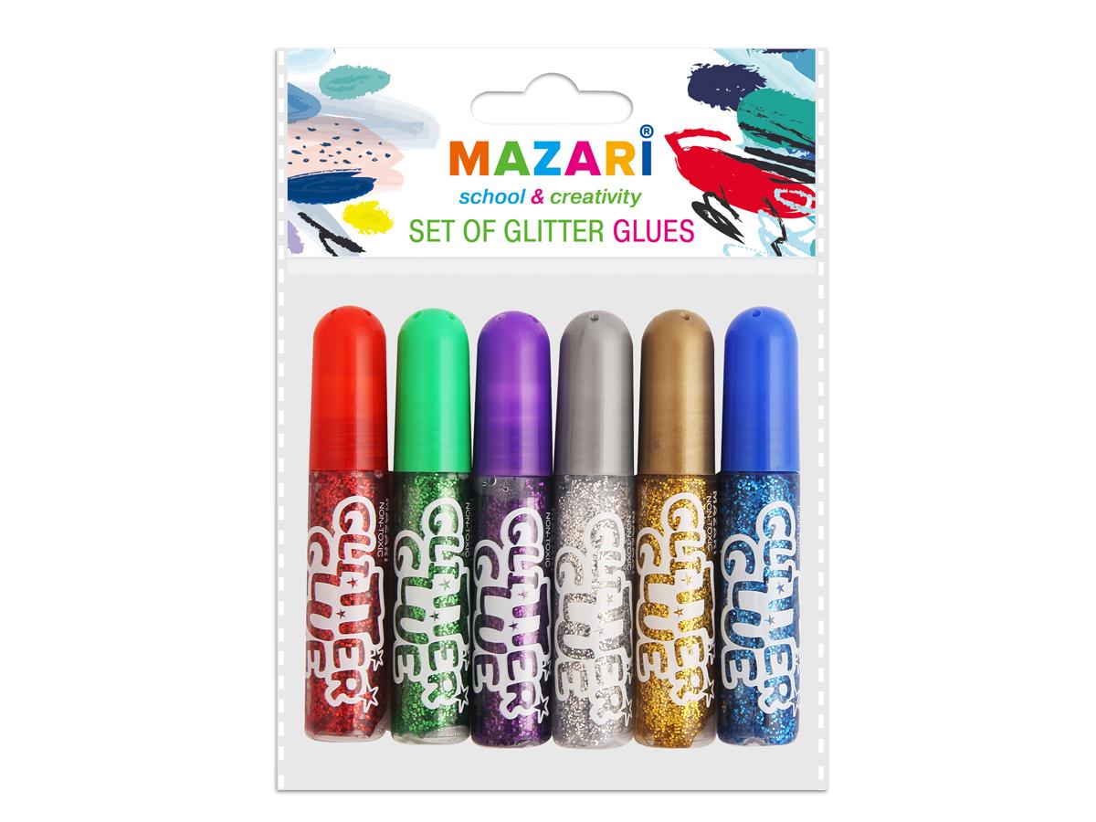 Mazari Гель-краски с блестками 6 цветов 6 млМ-2Гель-краски Mazari с блестками для детского творчества - это оригинальный материал для декорирования рисунков, стенгазет или каких-то подделок. Также предназначены для художественных работ по любым видам поверхностей. Не содержат вредных для здоровья компонентов.