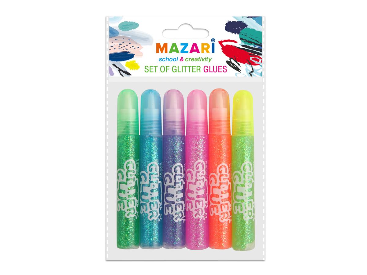Mazari Гель-краски полупрорачные с блестками 6 цветов 10 млМ-5Гель-краски Mazari с блестками для детского творчества - это оригинальный материал для декорирования рисунков, стенгазет или каких-то подделок. Также предназначены для художественных работ по любым видам поверхностей. Не содержат вредных для здоровья компонентов.