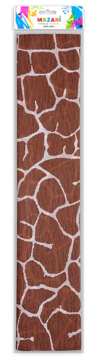 Mazari Бумага крепированная Анималистичные принты Жираф 5 листов 50 х 250 смМ-8841Крепированная бумага Mazari Анималистичные принты: Жираф - отличный вариант для воплощения творческих идей не только детей, но и взрослых. Она отлично подойдет для упаковки хрупких изделий, оформления букетов, создания сложных цветовых композиций, для декорирования и других оформительских работ. Бумага обладает повышенной прочностью и жесткостью, хорошо растягивается, имеет жатую поверхность. В комплект входят 5 листов бумаги, оформленные принтом в виде пятен жирафа. Крепированная бумага поможет увлечь ребенка, развивая интерес к художественному творчеству, эстетический вкус и восприятие, а также поможет развить самостоятельность, мелкую моторику и аккуратность. Размер: 50 см х 250 см. Плотность: 17 г/м2. Коэффициент растяжения: 20%.
