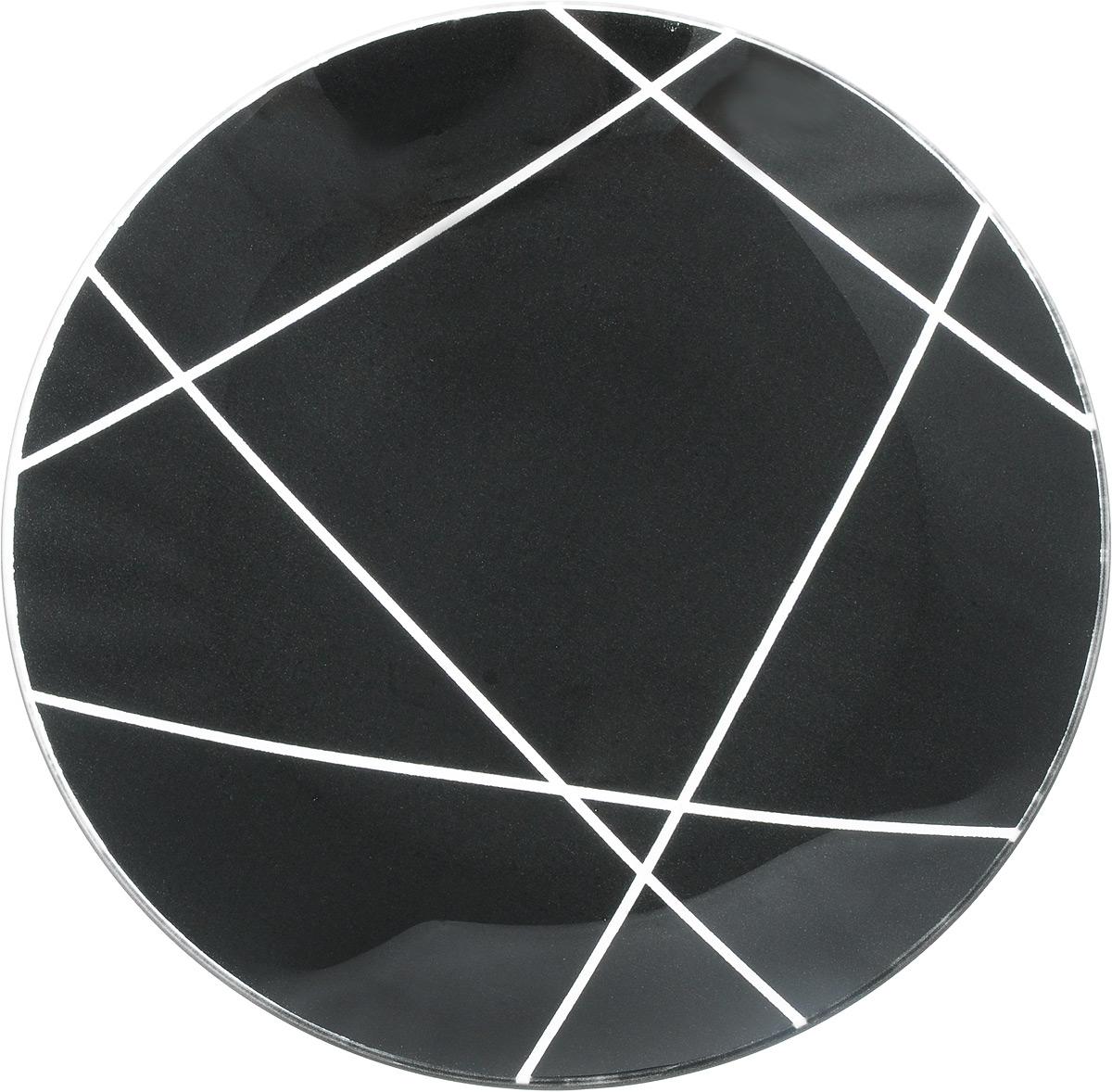 Тарелка NiNaGlass Контур, цвет: черный, диаметр 20 см ваза ninaglass дана цвет шоколад высота 16 см