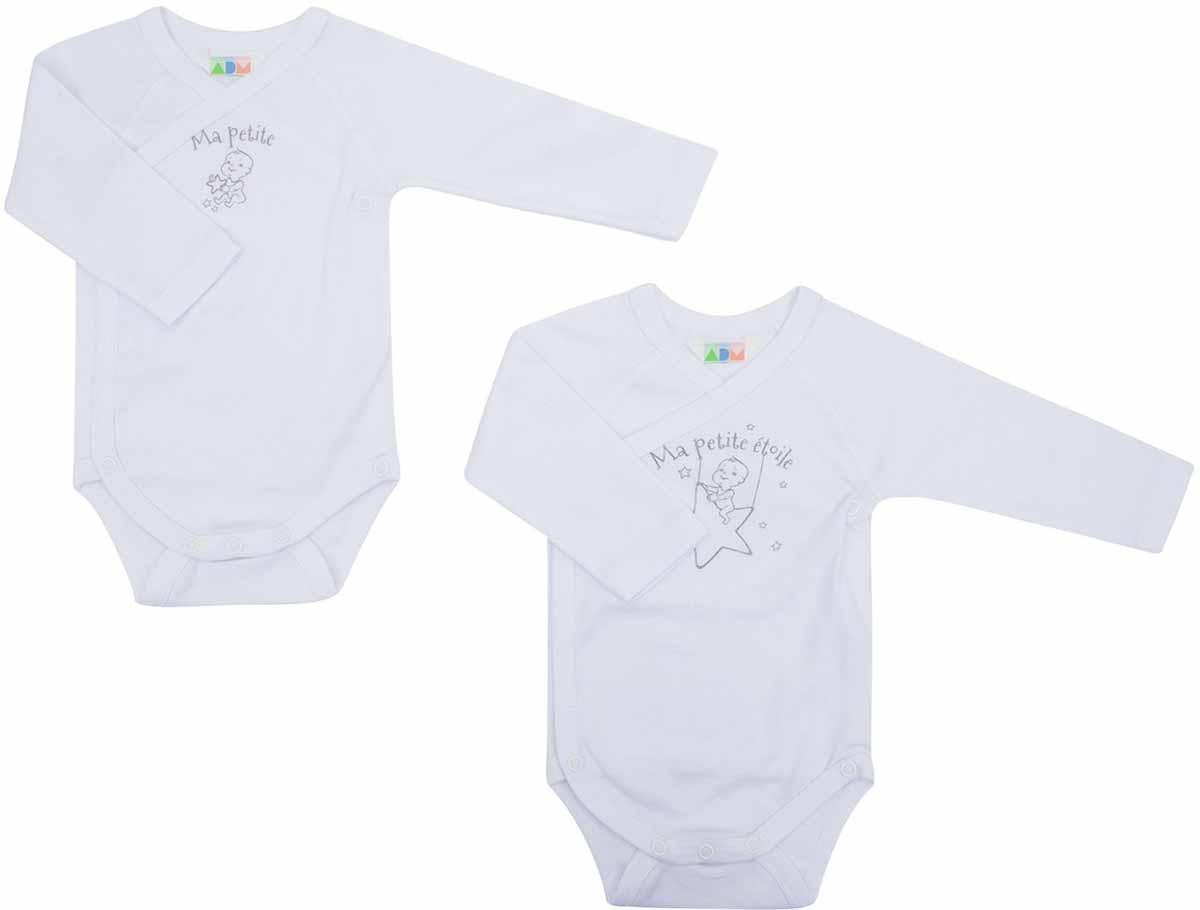 Боди детское Axiome De Mode, цвет: белый, 2 шт. 16-8001. Размер 68, 6мес боди детское happy baby цвет белый мятный 2 шт 90005 размер 74 80