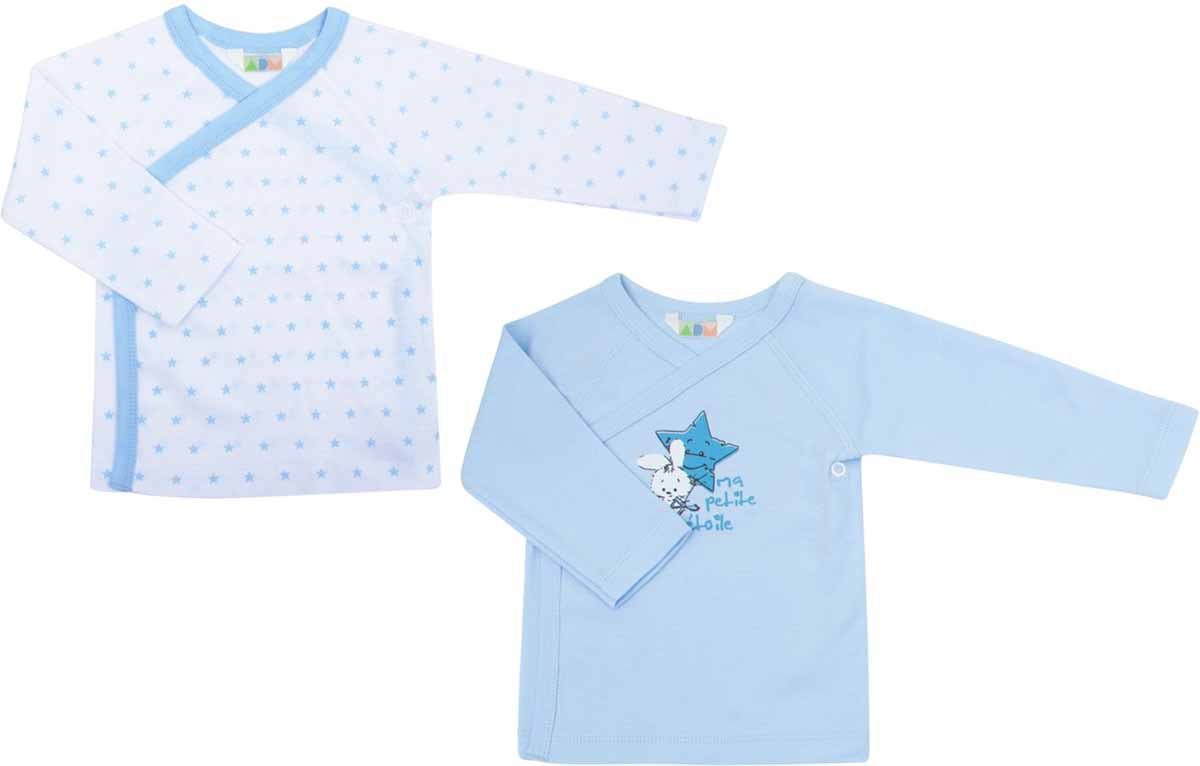 Распашонка для мальчиков Axiome De Mode, цвет: голубой, 2 шт. 16-8100. Размер 56, 1мес16-8100