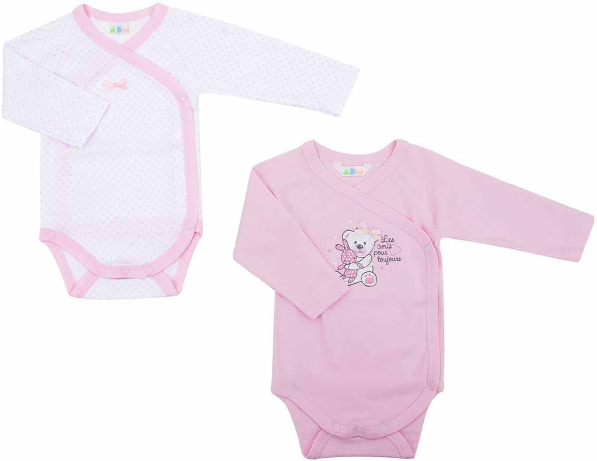 Боди для девочек Axiome De Mode, цвет: розовый, 2 шт. 16-8101. Размер 68, 6мес16-8101