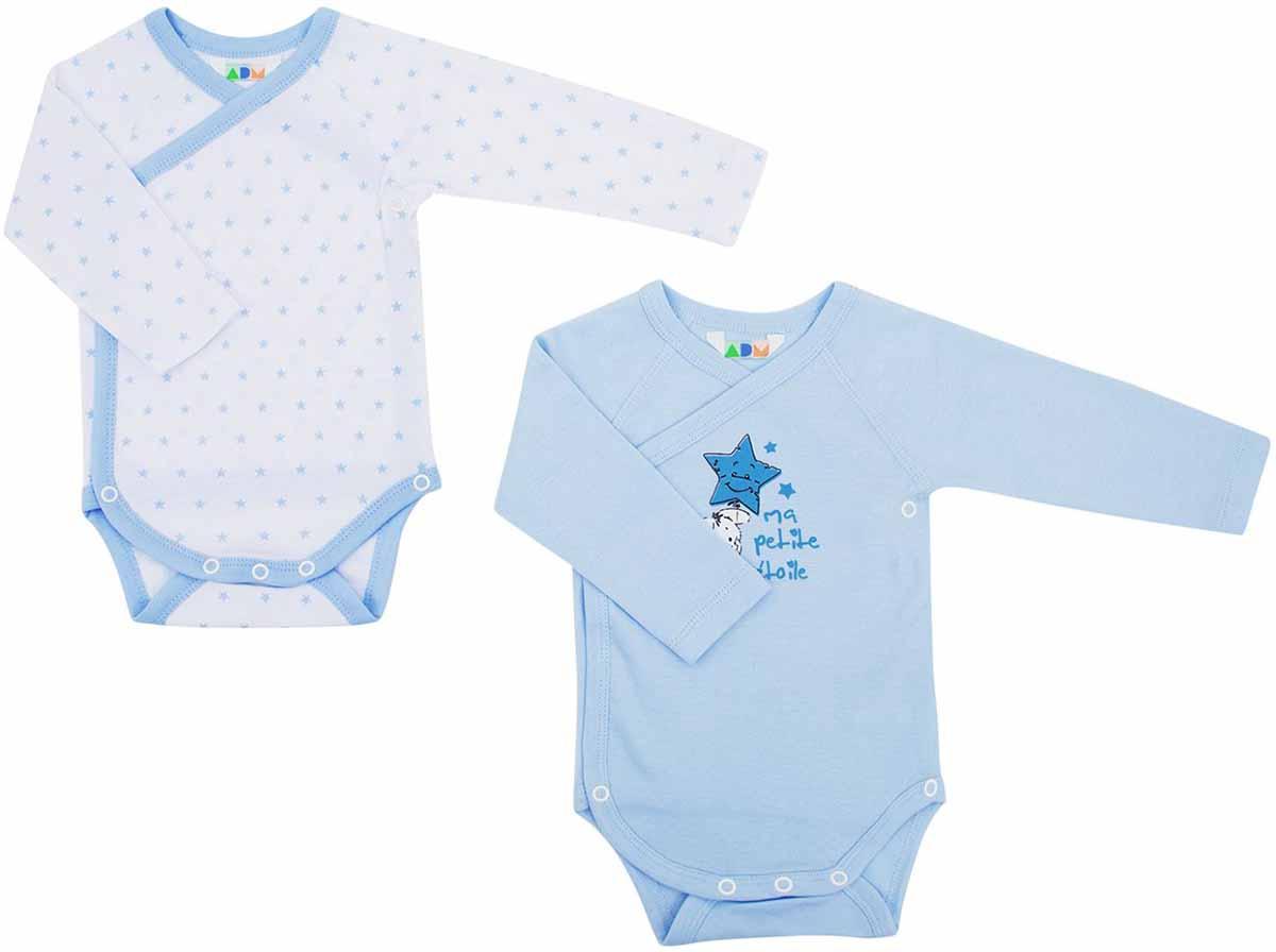 Боди для мальчиков Axiome De Mode, цвет: голубой, 2 шт. 16-8101. Размер 62, 3мес16-8101