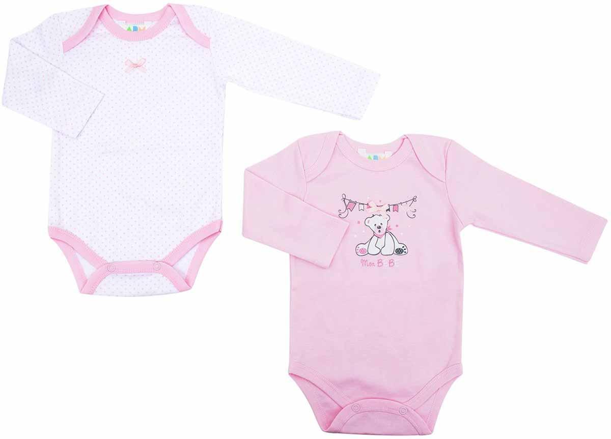 Боди для девочек Axiome De Mode, цвет: розовый, 2 шт 16-8102. Размер 80, 12мес16-8102