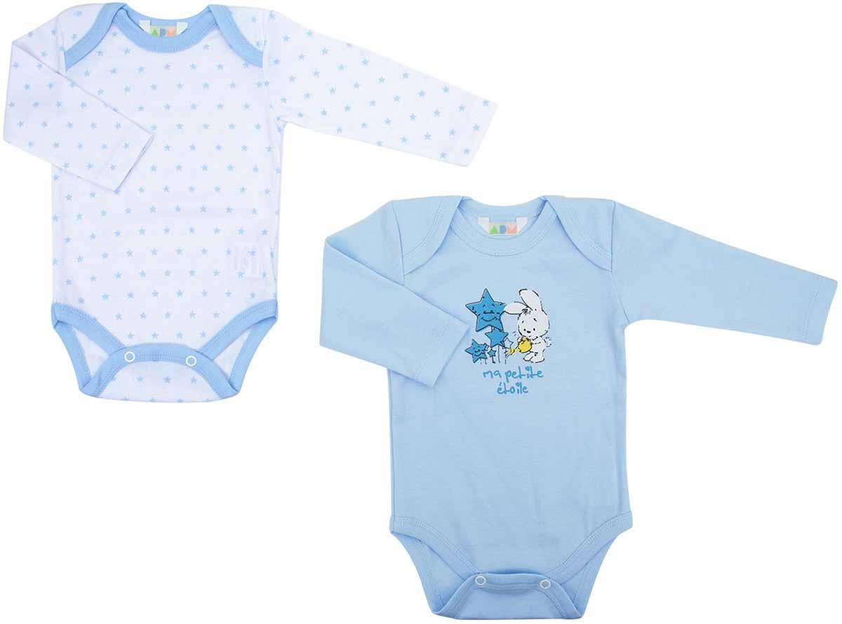 Фото Боди для мальчиков Axiome De Mode, цвет: голубой, 2 шт. 16-8102. Размер 80, 12мес