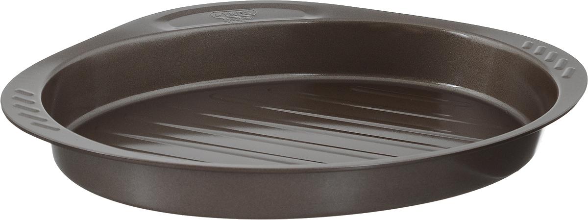 Форма-гриль для выпечки Pyrex asimetriA, овальная, с антипригарным покрытием, 35 х 23 смAS35OR0Форма-гриль для выпечки Pyrex asimetriA изготовлена из углеродистой стали с антипригарным покрытием на всей поверхности. Благодаря антипригарному покрытию нет необходимости использовать подсолнечное масло. Пища не пригорает и не прилипает к стенкам, легко достается из формы, сохраняя при этом аккуратный внешний вид. Покрытие обладает высокой прочностью и длительным сроком эксплуатации, а также является абсолютно безопасным, так как не содержит PFOA, свинца и кадмия. Форма быстро и равномерно нагревается. Изделие имеет высокие стенки, две боковых и одну фронтальную ручку. Дно формы имеет специальные желобки, которые не позволяют жиру контактировать с продуктами. Такая форма прослужит долго и обеспечит легкое и удобное приготовление ваших любимых блюд. Можно использовать в духовке при температуре до 230°С и мыть в посудомоечной машине. Внутренний размер формы: 35 х 23 см. Размер формы (с учетом ручек): 40 х 27 см. Высота стенки: 5 см.