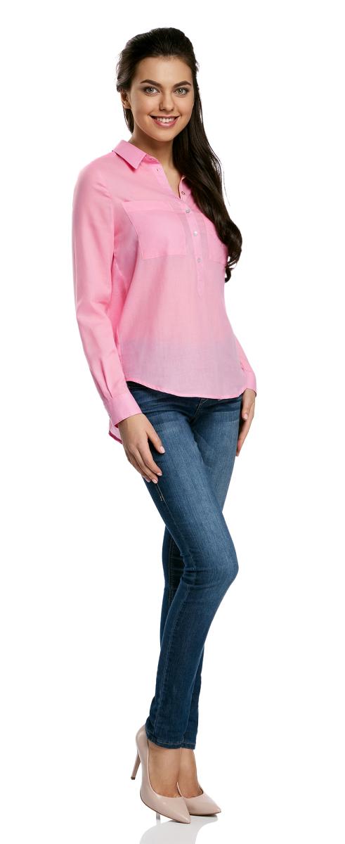 Блузка женская oodji Ultra, цвет: розовый. 11411101B/45561/4100N. Размер 44-170 (50-170)11411101B/45561/4100NЖенская блузка oodji Ultra выполнена из хлопковой ткани. Модель с отложным воротником и длинными стандартными рукавами. Спереди изделие дополнено накладными карманами и застегивается на пуговицы. Подол у блузки полукруглый.