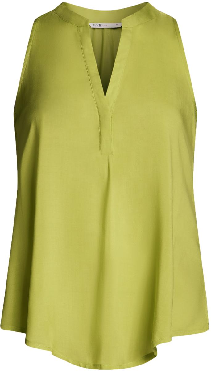 Блузка женская oodji Ultra, цвет: зеленый. 11411105B/39658N/6A00N. Размер 42-170 (48-170)11411105B/39658N/6A00NБлузка женская oodji Ultra выполнена из высококачественного материала. Модель свободного кроя с V-вырезом горловины.