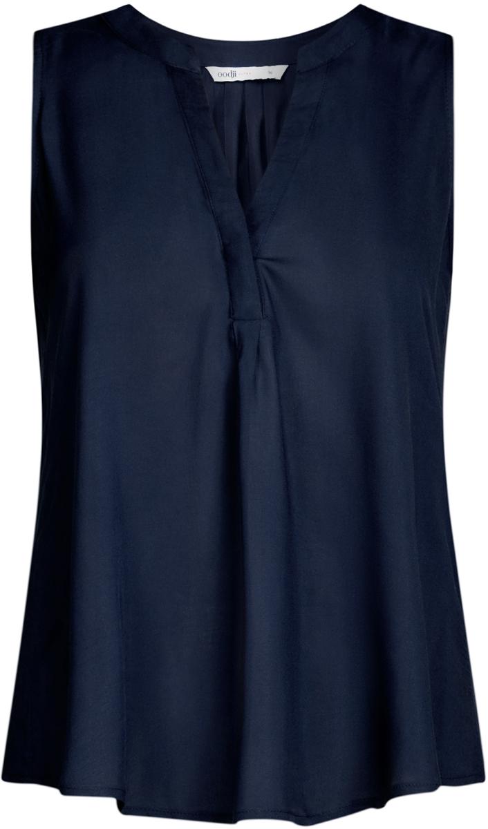 Блузка женская oodji Ultra, цвет: темно-синий. 11411105B/39658N/7900N. Размер 38-170 (44-170)11411105B/39658N/7900NБлузка женская oodji Ultra выполнена из высококачественного материала. Модель свободного кроя с V-вырезом горловины.