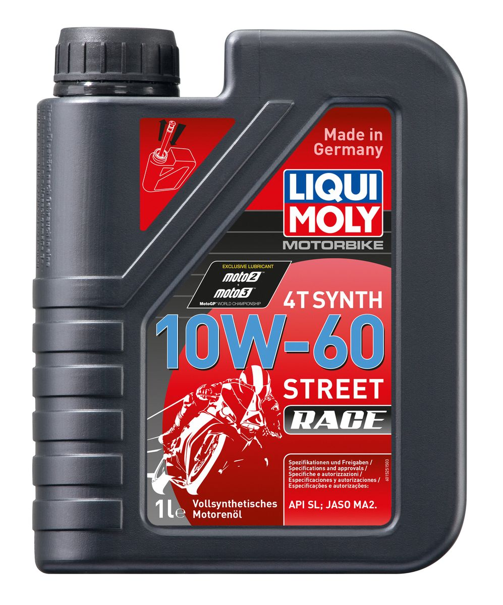 Масло моторное Liqui Moly Motorbike 4T Synth Street Race, синтетическое, 10W-60, 1 л присадка в бензин liqui moly 3040 motorbike speed additiv 0 15л