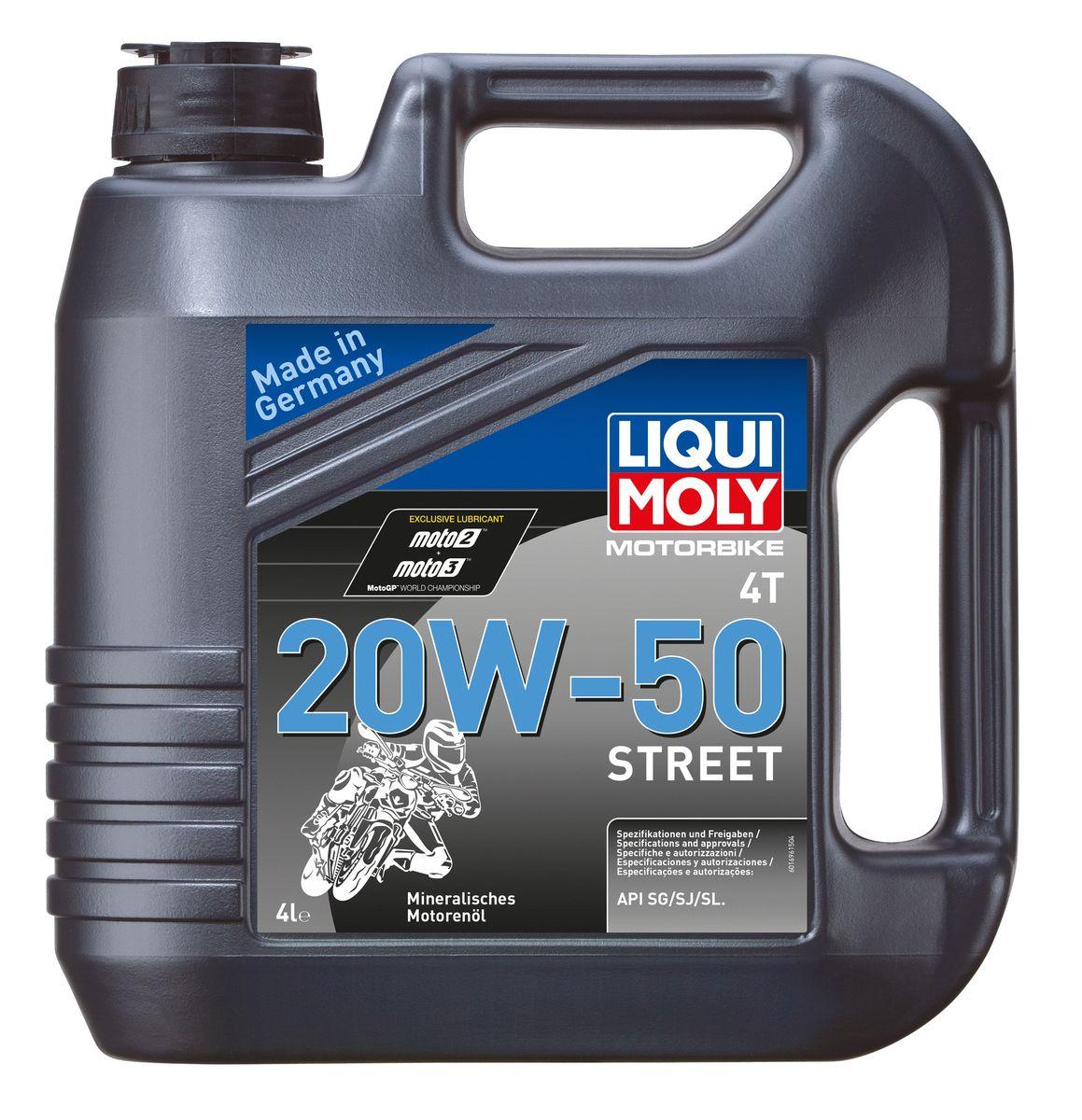Масло моторное Liqui Moly Motorbike 4T Street, минеральное, 20W-50, 4 л моторное масло liqui moly 7632 motorbike 4t street 20w 50 1л