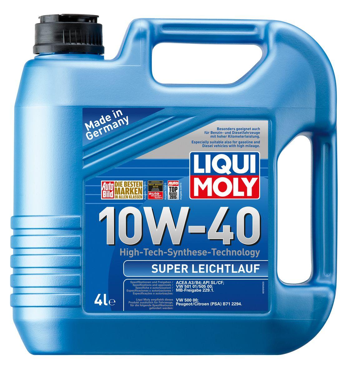 Масло моторное Liqui Moly Super Leichtlauf, НС-синтетическое, 10W-40, 4 л1916Масло моторное Liqui Moly Super Leichtlauf - универсальное моторное масло на базе гидрокрекинговой технологии синтеза (HC-синтеза). Удовлетворяет современным требованиям международных стандартов API и ACEA, а также имеет оригинальные допуски таких производителей, как Mercedes-Benz, Volkswagen Group. Масло имеет высокую стабильность к окислению и угару, поэтому может использоваться в нагруженных бензиновых и дизельных двигателях с турбонаддувом и интеркулером. В моторном масле Leichtlauf Super 10W-40 используются базовые компоненты, произведенные по новейшим технологиям синтеза и отличающиеся высочайшими защитными свойствами. Масло содержит современный пакет присадок, который обеспечивает высокий уровень защиты от износа и гарантирует стабильное поступление масла ко всем деталям двигателя. Особенности: - Высокая стабильность масляной пленки при высоких и низких температурах- Высокие противоизносные свойства- Обеспечивает оптимальную чистоту двигателя- Протестировано на совместимость с турбированными двигателями и катализаторомДопуск: -API: SL/CF-ACEA: A3/B4-MB: 229.1-VW: 501 01/505 00