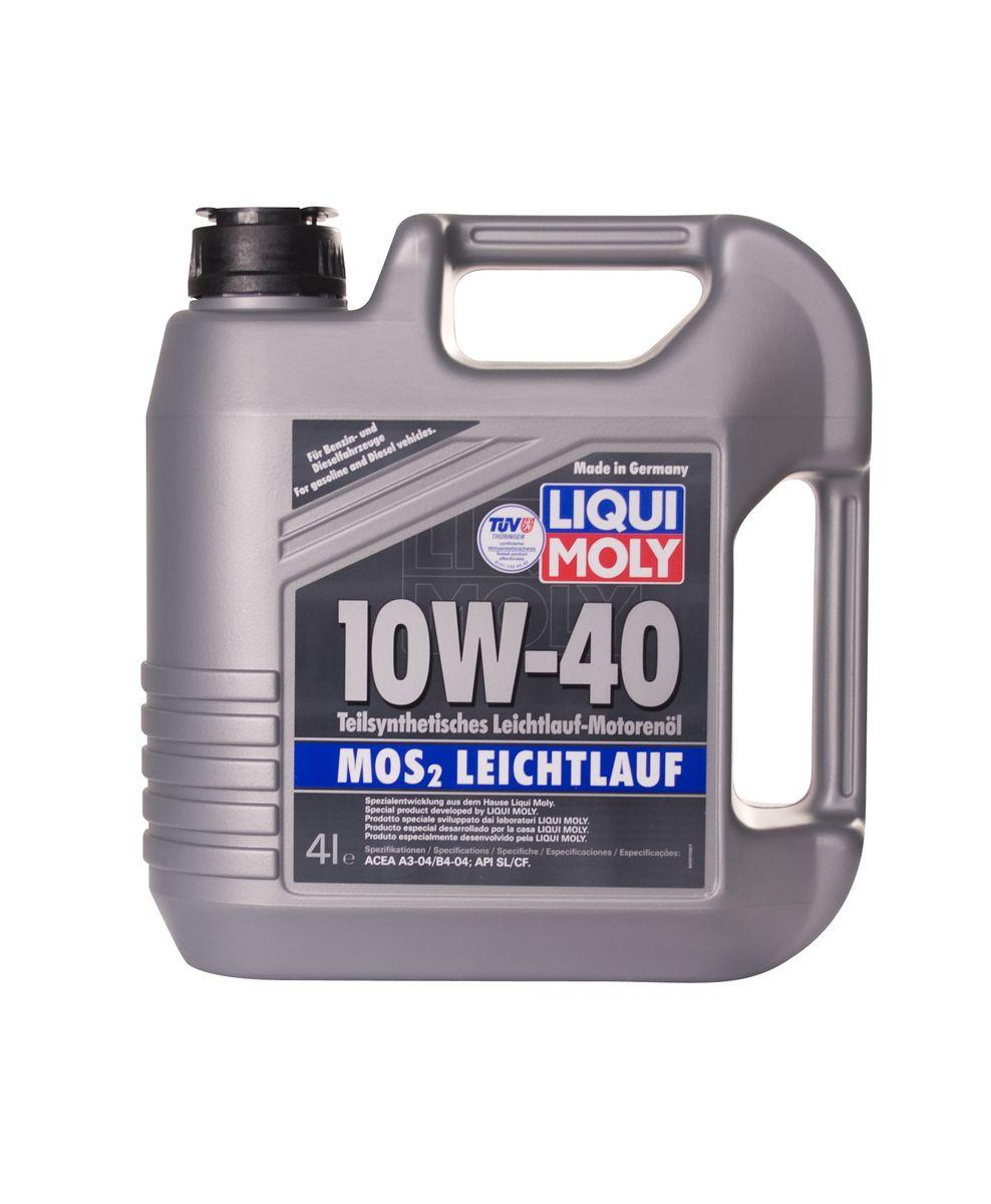 Масло моторное Liqui Moly MoS2 Leichtlauf, полусинтетическое, 10W-40, 4 л1917Масло моторное Liqui Moly MoS2 Leichtlauf - полусинтетическое моторное маслос добавлением дисульфида молибдена - визитной карточки компании LiquiMoly, эффективность рецептуры которой проверена десятилетиями. Маслопредназначено для бензиновых и дизельных двигателей (в том числе длятурбомоторов) новых автомобилей (без специальных требований к маслу отавтопроизводителей), а также для подержанных автомобилей с большимпробегом, которые эксплуатируются в жестких условиях.В моторном масле используются синтетические и минеральные базовыекомпоненты, отличающиеся высокими защитными свойствами. Оптимальноесодержание присадок, а также смазывающего материала обеспечиваетотличные смазывающие свойства масла при самых критических нагрузках идлительных интервалах смены масла. Особенности:- Очень высокий уровень защиты от износа - Надежное поступление масла к деталям двигателя во всем диапазоне рабочихтемператур - Очень низкий расход масла - Отличная чистота двигателя - Проверено на системах с турбинами, компрессорами и катализаторами Соответствие: - API: CF/SL - ACEA: A3/B4