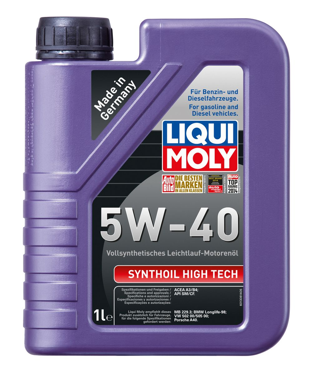 Масло моторное Liqui Moly Synthoil High Tech, синтетическое, 5W-40, 1 л1924Масло моторное Liqui Moly Synthoil High Tech - 100% синтетическое универсальное моторное масло на базе полиальфаолефинов (ПАО) для большинства автомобилей, для которых требования к маслам опираются на международные классификации API и ACEA. За счет оптимальной вязкости масло надежно защищает форсированные многоклапанные двигатели. Использование современных, полностью синтетических базовых масел (ПАО) и передовых технологий в области разработок присадок гарантирует низкую вязкость масла при низких температурах, высокую надежность масляной пленки. Моторные масла линейки Synthoil предотвращают образование отложений в двигателе, снижают трение и надежно защищают от износа. Особенности: - Быстрое поступление масла ко всем деталям двигателя при низких температурах- Высокая смазывающая способность- Замечательная термоокислительная стабильность и устойчивость к старению- Оптимальная чистота двигателя- Протестировано и совместимо с катализаторами и турбонаддувом- Высокая стабильность при высоких температурах- Очень низкий расход маслаДопуск: -API: CF/SM-ACEA: A3/B4