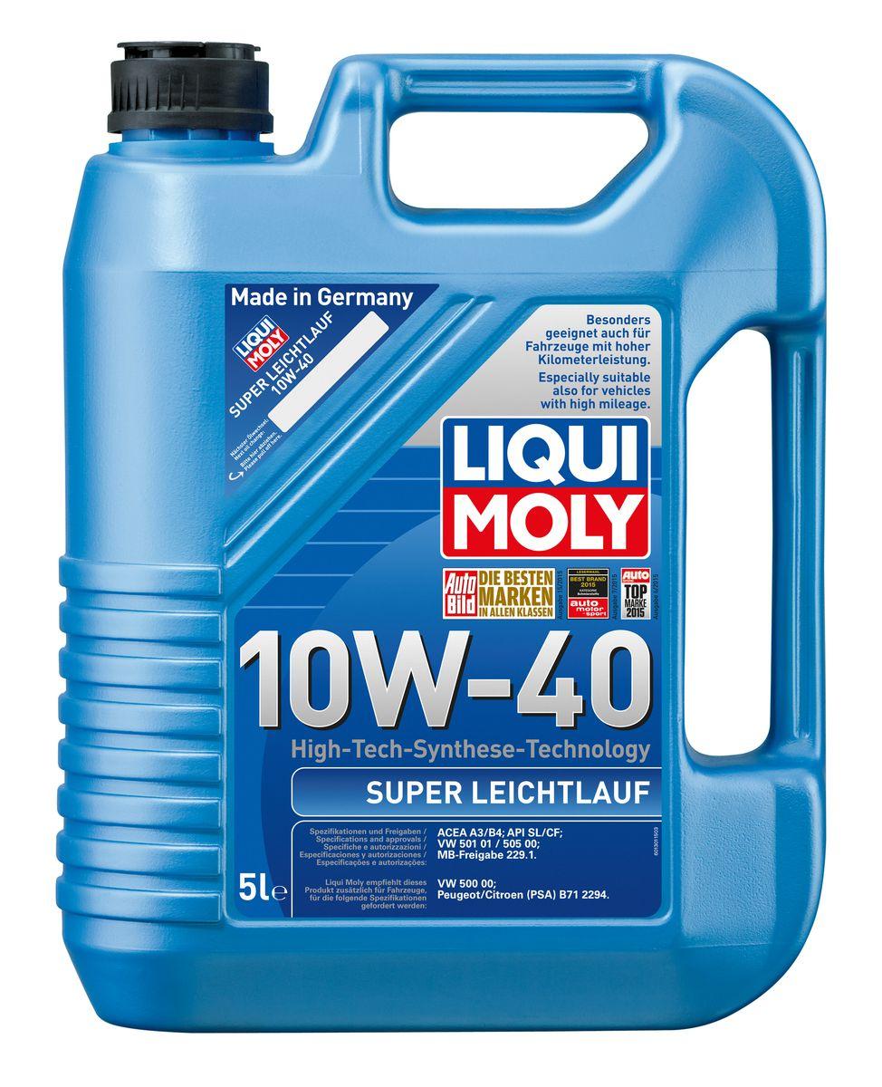 Масло моторное Liqui Moly Super Leichtlauf, НС-синтетическое, 10W-40, 5 л1929Масло моторное Liqui Moly Super Leichtlauf - универсальное моторное масло на базе гидрокрекинговой технологии синтеза (HC-синтеза). Удовлетворяет современным требованиям международных стандартов API и ACEA, а также имеет оригинальные допуски таких производителей, как Mercedes-Benz, Volkswagen Group. Масло имеет высокую стабильность к окислению и угару, поэтому может использоваться в нагруженных бензиновых и дизельных двигателях с турбонаддувом и интеркулером. В моторном масле Leichtlauf Super 10W-40 используются базовые компоненты, произведенные по новейшим технологиям синтеза и отличающиеся высочайшими защитными свойствами. Масло содержит современный пакет присадок, который обеспечивает высокий уровень защиты от износа и гарантирует стабильное поступление масла ко всем деталям двигателя. Особенности: - Высокая стабильность масляной пленки при высоких и низких температурах- Высокие противоизносные свойства- Обеспечивает оптимальную чистоту двигателя- Протестировано на совместимость с турбированными двигателями и катализаторомДопуск: -API: SL/CF-ACEA: A3/B4-MB: 229.1-VW: 501 01/505 00