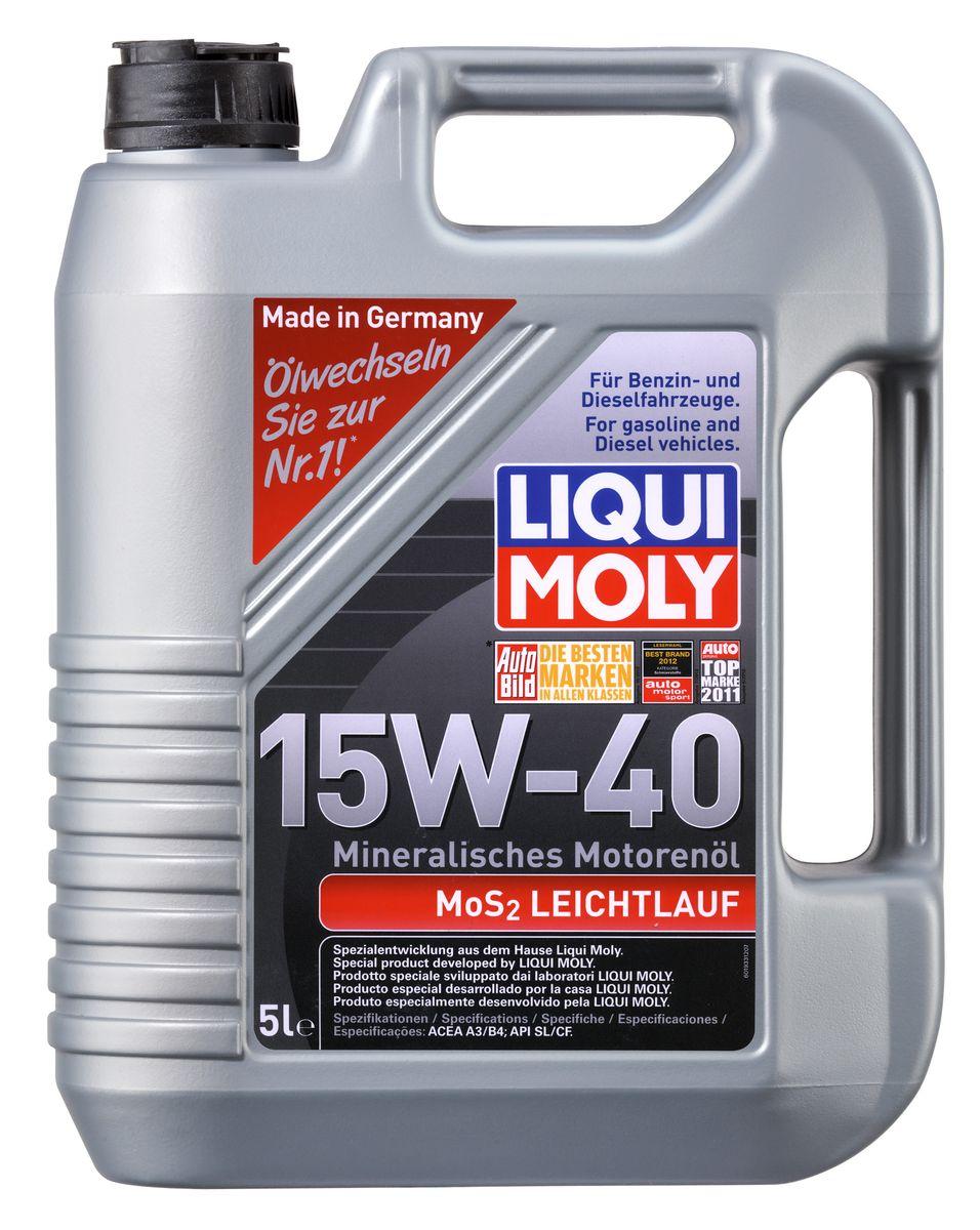 Масло моторное Liqui Moly MoS2 Leichtlauf, минеральное, 15W-40, 5 л смазка liqui moly lm 47 langzeitfett mos2 с дисульфидом молибдена 100 г