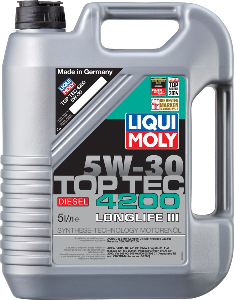 Масло моторное Liqui Moly Top Tec 4200 Diesel, НС-синтетическое, 5W-30, 5 л присадка liqui moly benzin system pflege для ухода за бензиновой системой впрыска 0 3 л