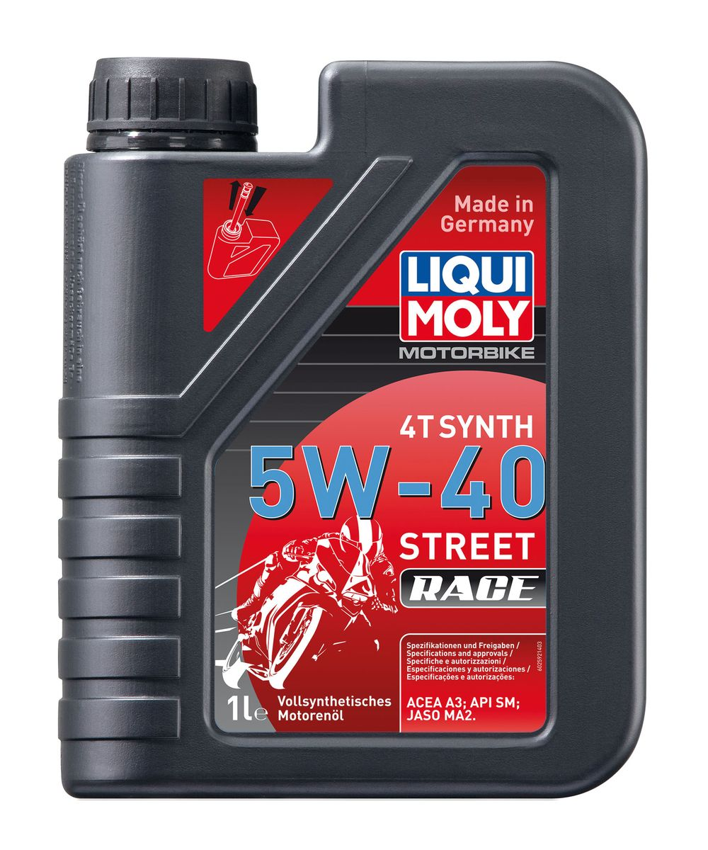 Масло моторное Liqui Moly Motorbike 4T Synth Street Race, синтетическое, 5W-40, 1 л присадка в бензин liqui moly 3040 motorbike speed additiv 0 15л