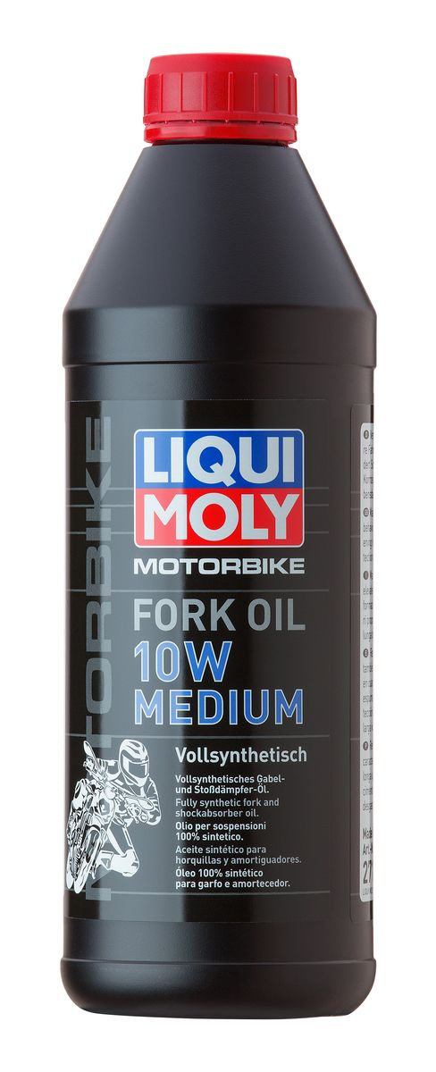 Масло для вилок и амортизаторов Liqui Moly Motorbike Fork Oil Medium, синтетическое, 10W, 1 л присадка в бензин liqui moly 3040 motorbike speed additiv 0 15л