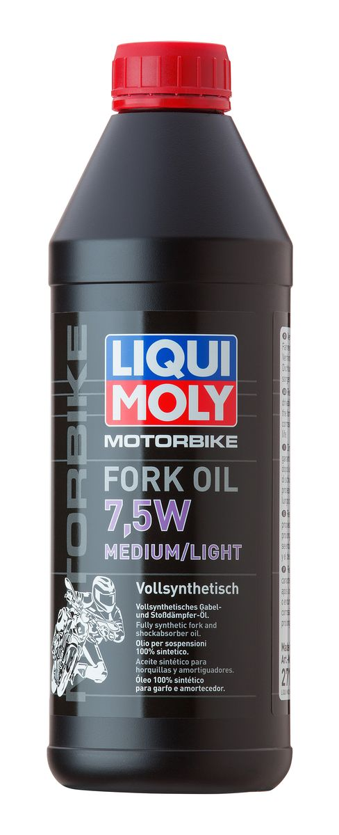 Масло для вилок и амортизаторов Liqui Moly Motorbike Fork Oil Medium/Light, синтетическое, 7,5W, 1 л присадка в бензин liqui moly 3040 motorbike speed additiv 0 15л