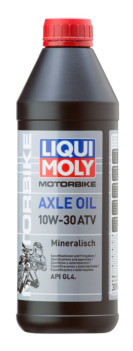 Масло трансмиссионное Liqui Moly Motorbike Axle Oil ATV, минеральное, 10W-30, GL-4, 1 л присадка в бензин liqui moly 3040 motorbike speed additiv 0 15л