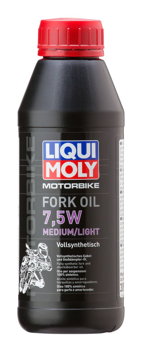 Масло для вилок и амортизаторов Liqui Moly Motorbike Fork Oil Medium/Light, синтетическое, 7,5W, 500 мл присадка в бензин liqui moly 3040 motorbike speed additiv 0 15л
