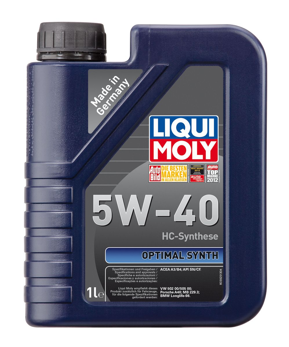 Масло моторное Liqui Moly Optimal Synth, НС-синтетическое, 5W-40, 1 л3925Масло моторное Liqui Moly Optimal Synth - это HC-синтетическое моторное масло с адаптированным для российских условий пакетом присадок. Благодаря новейшим технологиям синтеза и вязкости 5W-40 масло обеспечивает высокий уровень защиты и оптимальное смазывание деталей двигателя. Масло удовлетворяет современным международным стандартам API/ACEA. Масло создано на основе базовых компонентов, произведенных по технологии HC-синтеза, с учетом самых высоких требований, предъявляемых современными и мощными бензиновыми и дизельными двигателями. Оно обеспечивает отличную смазку при любых условиях эксплуатации. Одновременно снижается до минимума трение, в результате чего уменьшается расход топлива. Особенности: - Быстрое поступление масла к деталям двигателя при низких температурах- Надежная защита от износа- Низкий расход масла- Оптимальная чистота двигателя- Экономия топлива и снижение вредных выбросов- Проверено на турбированных двигателях и катализаторе