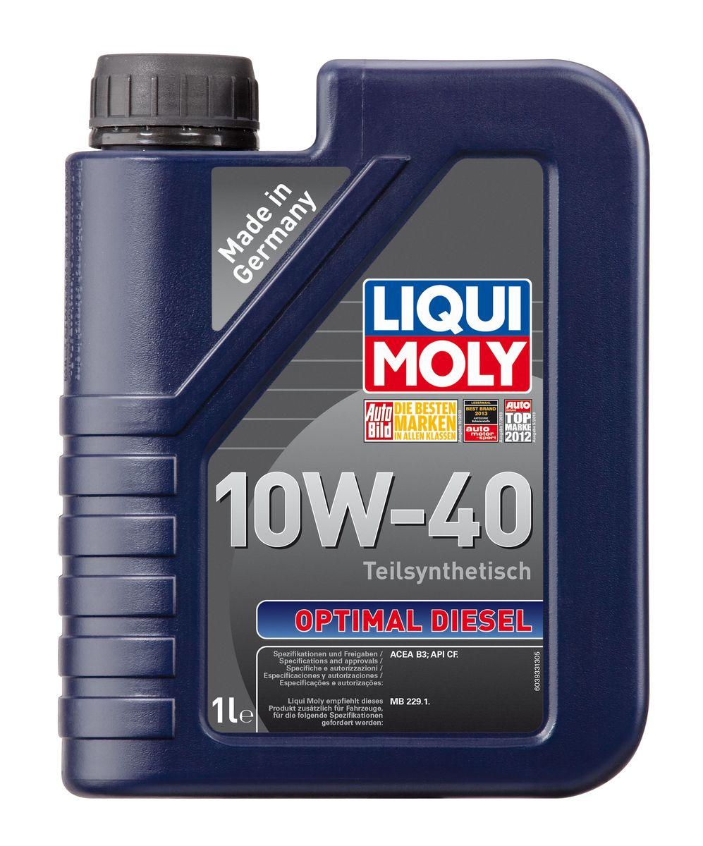 Масло моторное Liqui Moly Optimal Diesel, полусинтетическое, 10W-40, 1 л3933Масло моторное Liqui Moly Optimal Diesel - это полусинтетическое моторное масло специально для дизельных двигателей с адаптированным для российских условий пакетом присадок. Удовлетворяет современным международным стандартам API/ACEA. Подходит для широкого круга дизельных иномарок предыдущих поколений. В моторном масле используются синтетические и минеральные базовые компоненты, отличающиеся высокими защитными свойствами. Масло обеспечивает высокий уровень защиты от износа и гарантирует стабильное поступление масла ко всем деталям двигателя.Особенности: - Специальная формула для дизельных двигателей без сажевого фильтра- Надежная защита от износа- Низкий расход масла- Оптимальная чистота двигателя