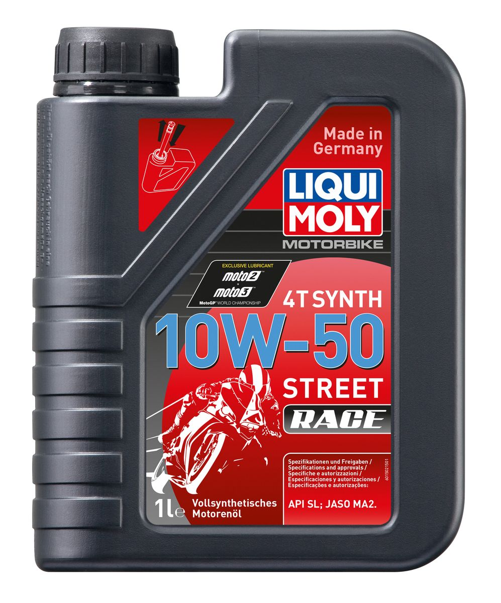 Масло моторное Liqui Moly Motorbike 4T Synth Street Race, синтетическое, 10W-50, 1 л масло моторное liqui moly motorbike 4t street нс синтетическое 10w 30 4 л