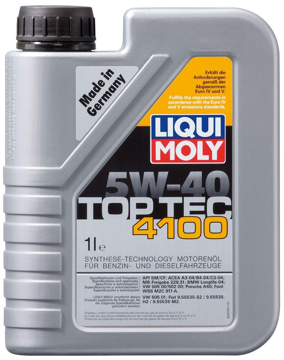 Масло моторное Liqui Moly Top Tec 4100, НС-синтетическое, 5W-40, 1 л присадка liqui moly benzin system pflege для ухода за бензиновой системой впрыска 0 3 л