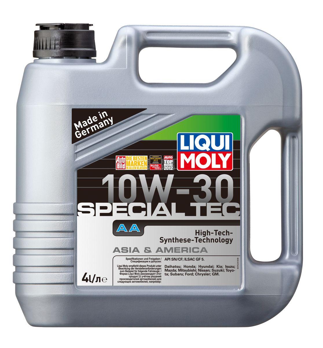 Масло моторное Liqui Moly Special Tec AA, НС-синтетическое, 10W-30, 4 л7524Масло моторное Liqui Moly Special Tec AA рекомендуется для автомобилей Honda, Mazda, Mitsubishi, Nissan, Daihatsu, Hyundai, Kia, Isuzu, Suzuki, Toyota, Subaru, Ford, Chrysler, GM. Современное HC-синтетическое энергосберегающее моторное масло специально предназначено для всесезонного использования в большинстве двигателей современных американских и азиатских бензиновых автомобилей. Также подходит для двигателей предыдущих поколений автомобилей. Базовые масла, полученные по технологии синтеза, и новейшие присадки составляют рецептуру моторного масла с отменной защитой от износа, снижающего расход топлива и масла, обеспечивающего чистоту двигателя. Особенности: - Высочайшие показатели топливной экономии- Сокращает эмиссию выхлопных газов- Отличная чистота двигателя- Совместимо с новейшими системами нейтрализации отработавших газов бензиновых двигателей- Высокая защита от износа и надежность смазывания- Очень низкие потери масла на испарениеМоторное масло Special Tec АА 10W-30 соответствует специальным требованиям азиатских и американских производителей, поэтому его использование позволяет сохранить все гарантийные условия при прохождении ТО соответствующих автомобилей. Допуск: - API: SN/SF- ILSAC: GF-5