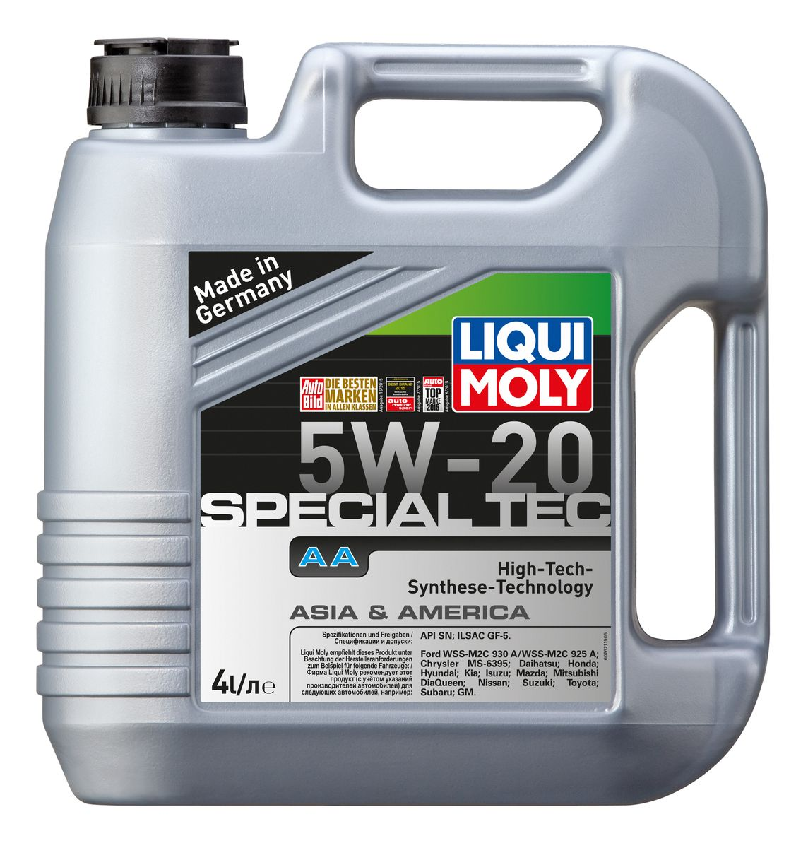 Масло моторное Liqui Moly Special Tec AA, НС-синтетическое, 5W-20, 4 л присадка liqui moly benzin system pflege для ухода за бензиновой системой впрыска 0 3 л