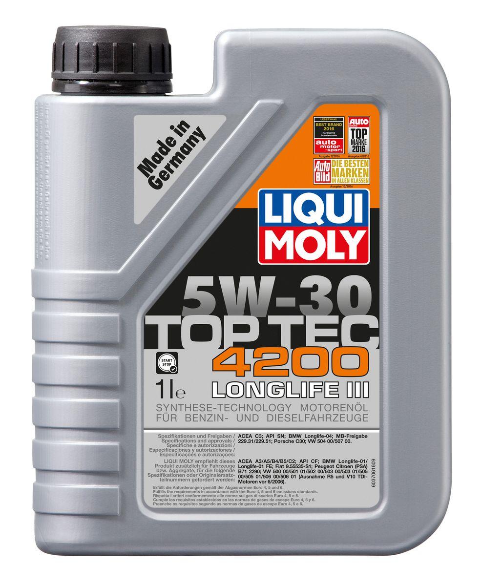 Масло моторное Liqui Moly Top Tec 4200, НС-синтетическое, 5W-30, 1 л присадка liqui moly benzin system pflege для ухода за бензиновой системой впрыска 0 3 л
