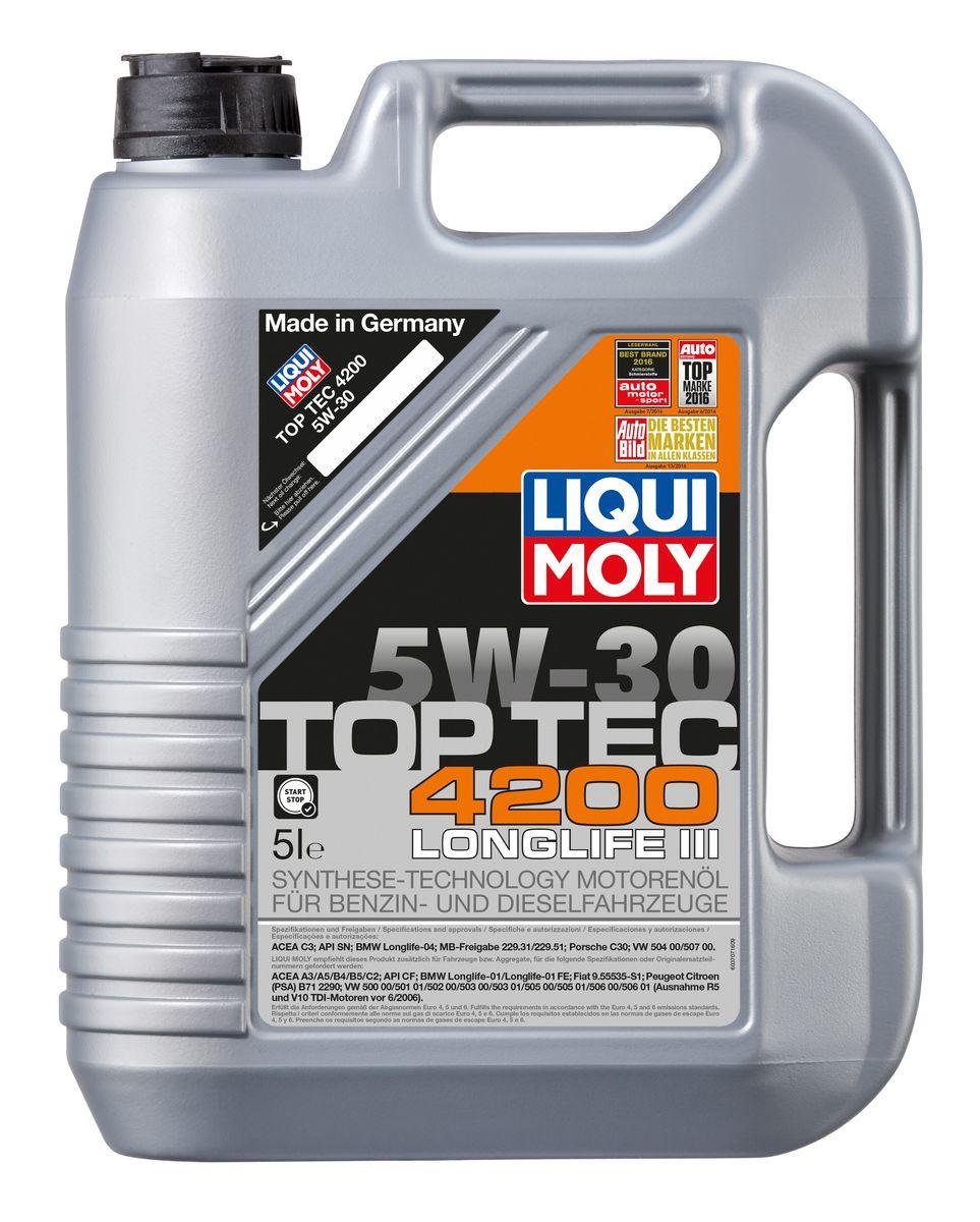 Масло моторное Liqui Moly Top Tec 4200, НС-синтетическое, 5W-30, 5 л присадка liqui moly benzin system pflege для ухода за бензиновой системой впрыска 0 3 л