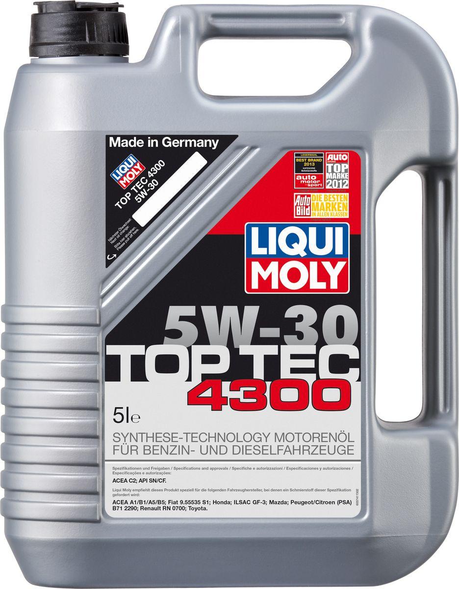 Масло моторное Liqui Moly Top Tec 4300, НС-синтетическое, 5W-30, 5 л8031Масло моторное Liqui Moly Top Tec 4300 рекомендуется для бензиновых двигателей Honda с модельного года 2007; для дизельных двигателей Toyota, Fiat модельного года 2008; Peugeot/ Citroen с модельного года 1999. HC-синтетическое малозольное (Mid SAPS) моторное масло для круглогодичного использования в бензиновых и дизельных двигателях легковых автомобилей. Рекомендуется для современных дизельных двигателей с многоступенчатым катализатором и сажевым фильтром (DPF). Отлично подходит для использования в автомобилях, переоборудованных под использование природного и сжиженного газа (CNG/LPG). В моторных маслах Top Tec используются базовые компоненты, произведенные по новейшим технологиям синтеза и отличающиеся высочайшими защитными свойствами. Масла содержат специальный пакет присадок с пониженным содержанием соединений серы, фосфора и хлора, что обеспечивает совместимость со специфическими системами нейтрализации и обеспечивает минимальные выбросы вредных веществ. Особенности: - Сокращает вредные выбросы- Совместимо с новейшими системами нейтрализации выхлопных газов- Быстрое поступление масла к трущимся деталям при низких температурах- Высокая защита двигателя от износа- Обеспечивает чистоту двигателяДопуск: -API: CF/SN-ACEA: C2
