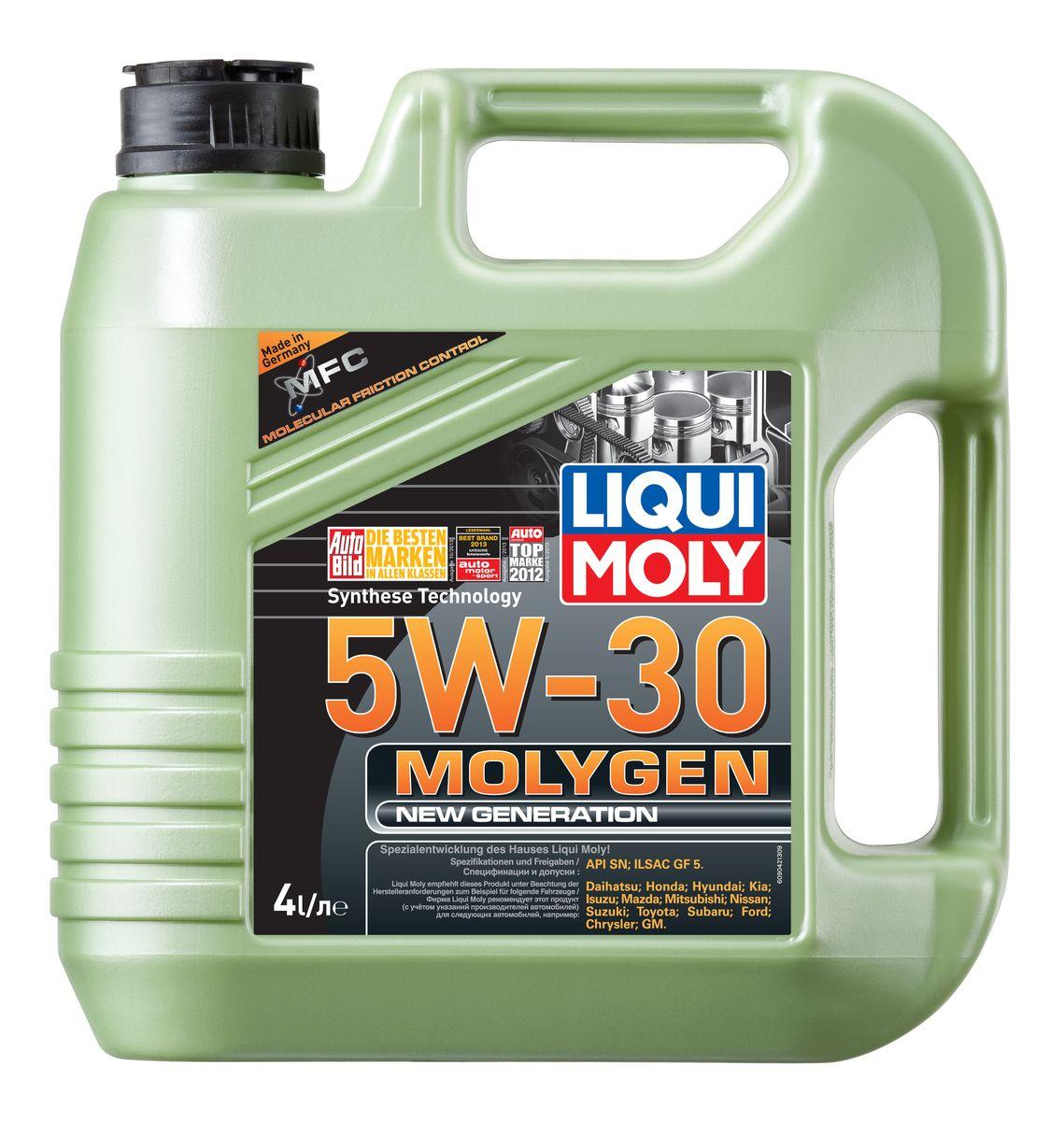 Масло моторное Liqui Moly Molygen New Generation, НС-синтетическое, 5W-30, 4 л присадка liqui moly benzin system pflege для ухода за бензиновой системой впрыска 0 3 л