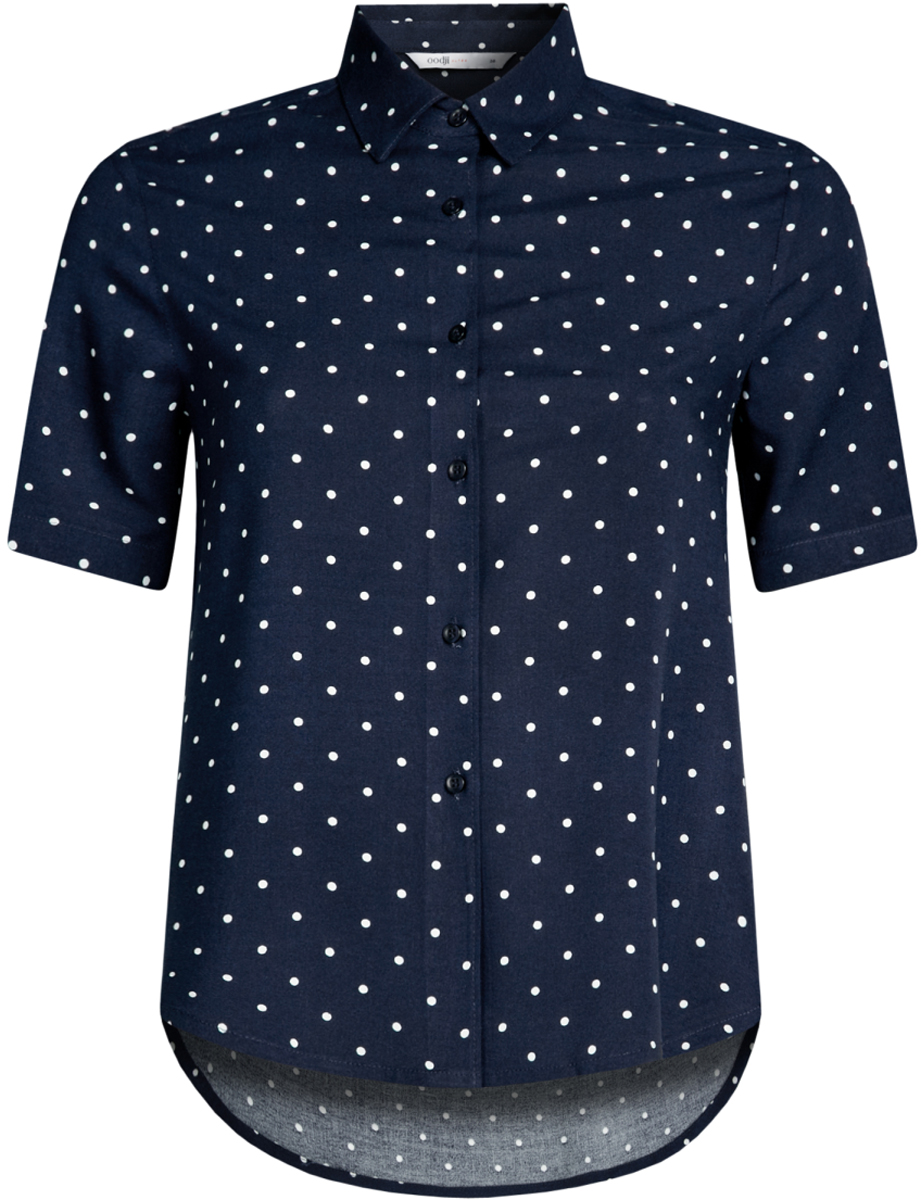 Блузка женская oodji Ultra, цвет: темно-синий, бежевый. 11411137B/14897/7930D. Размер 38-170 (44-170)