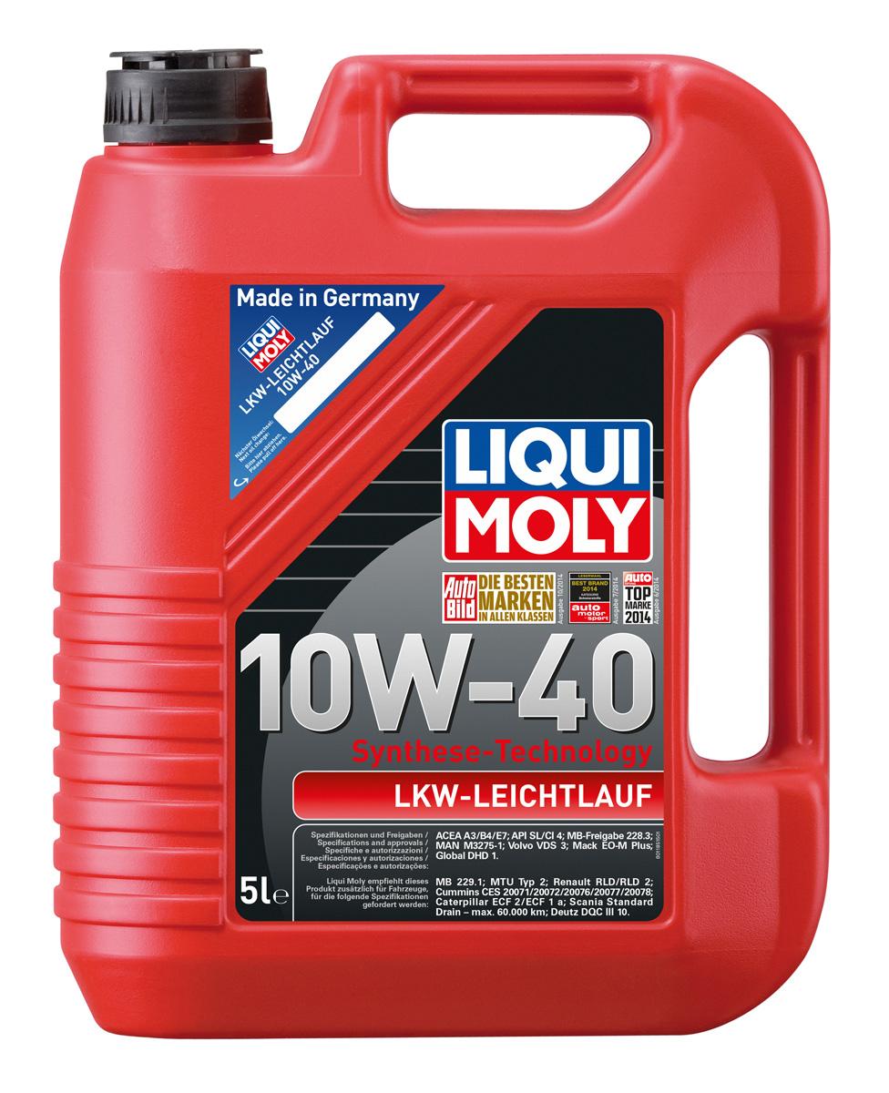 Масло моторное Liqui Moly LKW-Leichtlauf-Motoroil Basic, НС-синтетическое, 10W-40, 5 л присадка liqui moly benzin system pflege для ухода за бензиновой системой впрыска 0 3 л