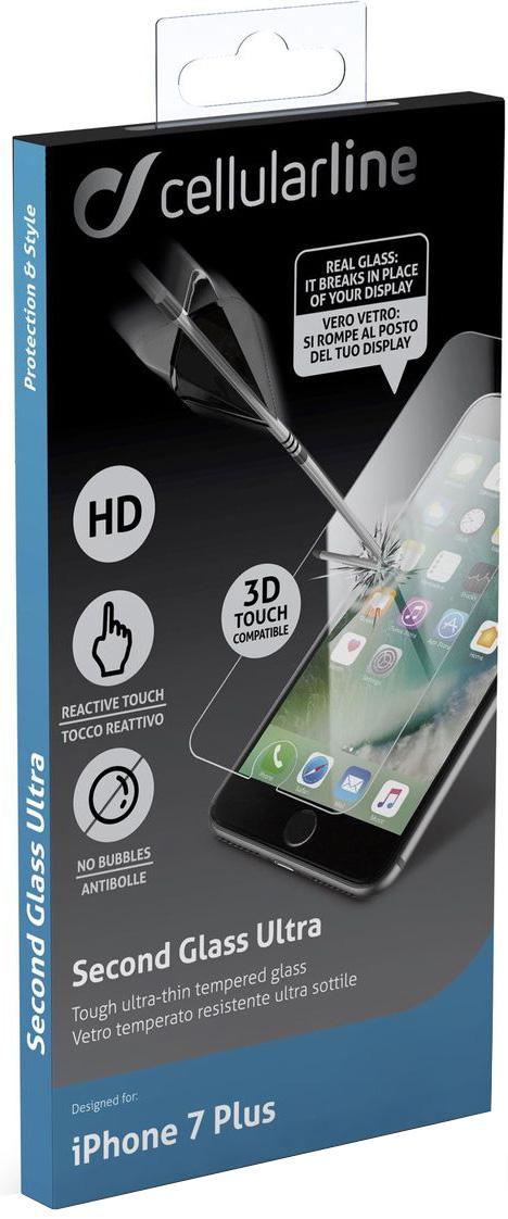 Cellular Line защитное стекло для iPhone 7 PlusTEMPGLASSIPH755Защитное стекло Cellular Line для iPhone 7 Plus обеспечивает надежную защиту сенсорного экрана устройства от большинства механических повреждений и сохраняет первоначальный вид дисплея, его цветопередачу и управляемость. В случае падения стекло амортизирует удар, позволяя сохранить экран целым и избежать дорогостоящего ремонта. Стекло обладает особой структурой, которая держится на экране без клея и сохраняет его чистым после удаления. Силиконовый слой предотвращает разлет осколков при ударе.Подходит для iPhone 8 Plus.