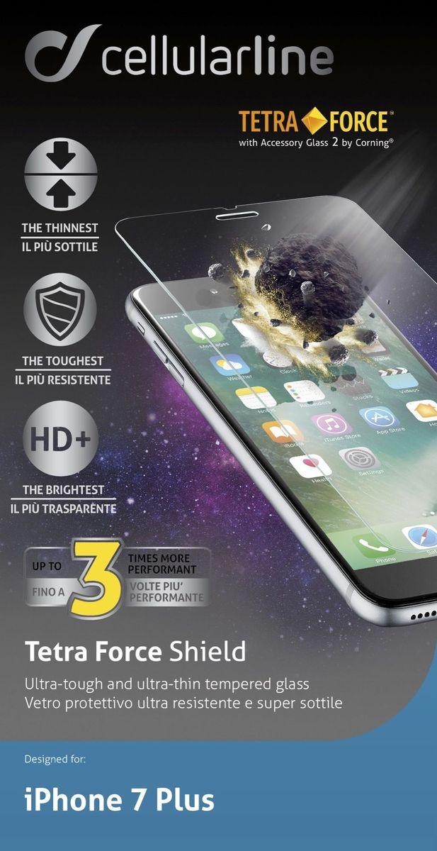 Cellular Line защитное стекло для iPhone 7 Plus ультрапрочноеTETRAGLASSIPH755Ультрапрочное защитное стекло Cellular Line для iPhone 7 Plus обеспечивает надежную защиту сенсорного экрана устройства от большинства механических повреждений и сохраняет первоначальный вид дисплея, его цветопередачу и управляемость. В случае падения стекло амортизирует удар, позволяя сохранить экран целым и избежать дорогостоящего ремонта. Стекло обладает особой структурой, которая держится на экране без клея и сохраняет его чистым после удаления. Силиконовый слой предотвращает разлет осколков при ударе.