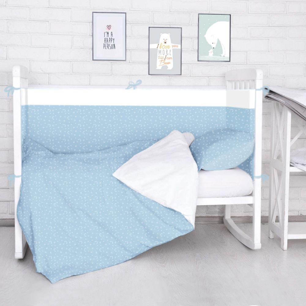 Борт в кроватку Baby Nice (его ещё называют бампер) является отличной защитой малыша от сквозняков и ударов при поворотах в кроватке. Ткань верха: 100% хлопок, наполнитель: экологически чистый нетканый материал для мягкой мебели - периотек. Дизайны бортов сочетаются с дизайнами постельного белья, так что, можно самостоятельно сделать полный комплект, идеальный для сна. Борта в кроватку - мягкие удобные долговечные: надежная и эстетичная защита вашего ребенка!  Состав комплекта: 4-е стороны: 120х35 - 2 шт, 60х35 - 2 шт.Простыня в данном комплекте без резинки.