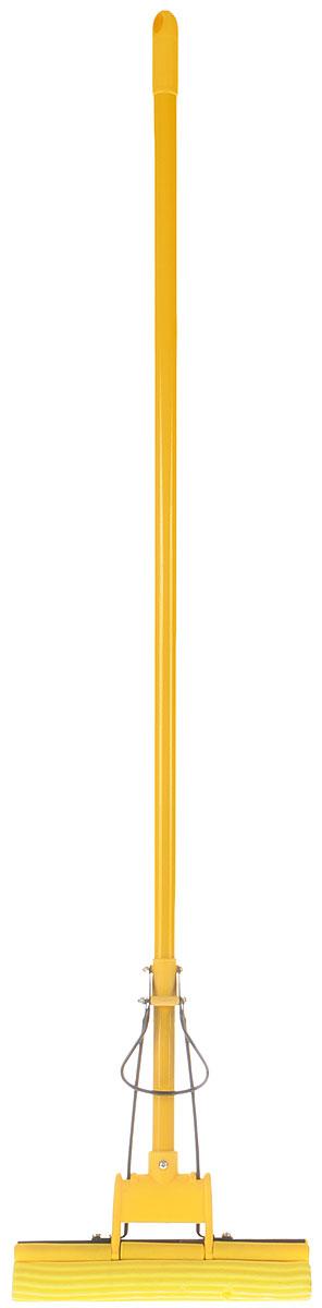 Швабра Unidom, с пластиковым коллектором, с одинарным отжимом, цвет: желтый, длина 122 смМ-077Швабра Unudom, выполненная из пластика, металла и вспененного полимера, подходит для всех видов напольных покрытий. Швабра, имеющая отжимной механизм, хорошо впитывает большое количество влаги и легко устраняет загрязнения. Швабра Unidom проста в использовании, легко отжимает воду при помощи поднятия отжимного механизма, сохраняя ваши руки сухими и чистыми.Длина ручки швабры: 108 см.Общая длина швабры: 122 см.Размер рабочей части: 27 х 5,5 х 5 см.