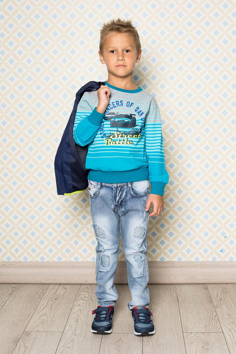 Джинсы для мальчика Sweet Berry, цвет: голубой. 713082. Размер 110713082Стильные вареные джинсы для мальчика Sweet Berry выполнены из натурального хлопка с эффектом потертости и разрывов. Джинсы зауженного кроя и стандартной посадки на талии застегиваются на пуговицу и имеют ширинку на застежке-молнии. Модель дополнена двумя втачными карманами спереди и тремя накладными карманами сзади. На поясе имеются шлевки для ремня. С внутренней стороны пояс дополнен вшитыми эластичными лентами, регулирующими посадку по талии.