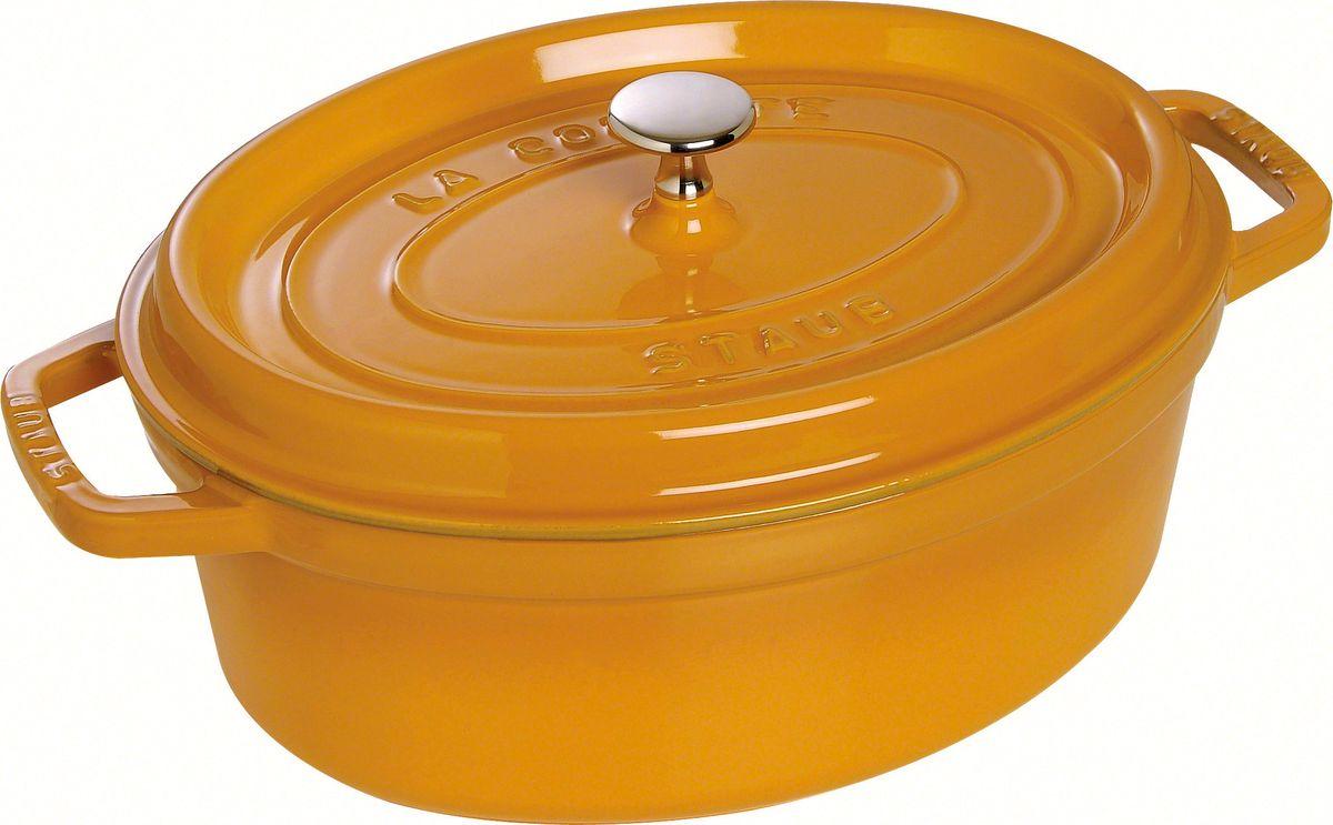 Кокот Staub, овальный, цвет: горчичный, 3,2 л1102712Изготовлен из чугуна, покрытого эмалью снаружи и внутри. Подходит для использования на всех типах плит и в духовке. Перед первым использованием снять этикетки, тщательно вымыть горячей водой с мыльным средством и высушить, затем нанести немного растительного масла на внутреннюю поверхность посуды, излишки масла удалить салфеткой. Мыть жидким моющим средством, без применения абразивных веществ и металлических губок. Пригоден для мытья в посудомоечной машине. При падении на твердую поверхность посуда может треснуть или разбиться. Металлические кухонные принадлежности могут повредить посуду.Избегать резкого нагревания и охлаждения, резкий перепад температуры может привести к повреждению посуды. Чтобы не обжечься, пользуйтесь прихватками.Адрес изготовителя:Zwilling Staub France S.A.S, 47 bis, rue des Vinaigriers, 75010 Paris, FRANCE (Цвиллинг Стауб Франс С.А.С 47 бис, ру де Винаигриерс, 75010 Париж, Франция) Уважаемые клиенты! Для сохранения свойств посуды из чугуна и предотвращения появления ржавчины чугунную посуду мойте только вручную, горячей или теплой водой, мягкой губкой или щёткой (не металлической) и обязательно вытирайте насухо. Для хранения смазывайте внутреннюю поверхность посуды растительным маслом, а перед следующим применением хорошо накалите посуду.