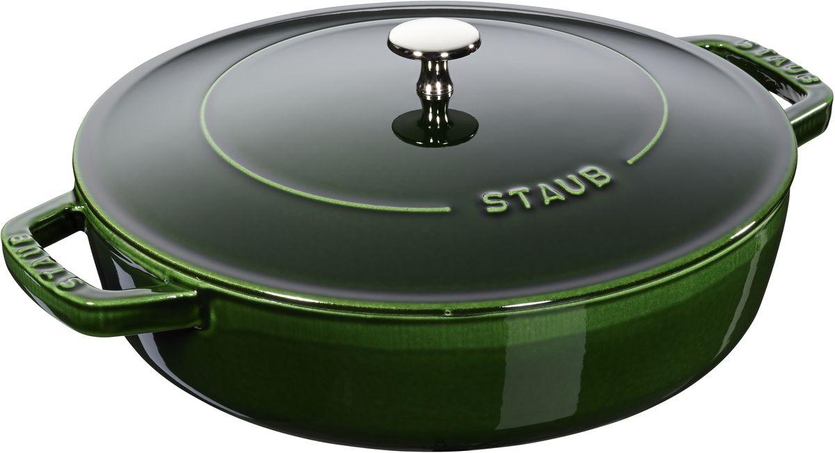 Сотейник Staub Чистера с крышкой, цвет: зеленый, 2,4 л12612485Изготовлен из чугуна, покрытого эмалью снаружи и внутри. Подходит для использования на всех типах плит и в духовке. Перед первым использованием снять этикетки, тщательно вымыть горячей водой с мыльным средством и высушить, затем нанести немного растительного масла на внутреннюю поверхность посуды, излишки масла удалить салфеткой. Мыть жидким моющим средством, без применения абразивных веществ и металлических губок. Пригоден для мытья в посудомоечной машине. При падении на твердую поверхность посуда может треснуть или разбиться. Металлические кухонные принадлежности могут повредить посуду. Чтобы не обжечься, пользуйтесь прихватками.Избегать резкого нагревания и охлаждения, резкий перепад температуры может привести к повреждению посуды.Адрес изготовителя:Zwilling Staub France S.A.S, 47 bis, rue des Vinaigriers, 75010 Paris, FRANCE (Цвиллинг Стауб Франс С.А.С 47 бис, ру де Винаигриерс, 75010 Париж, Франция)