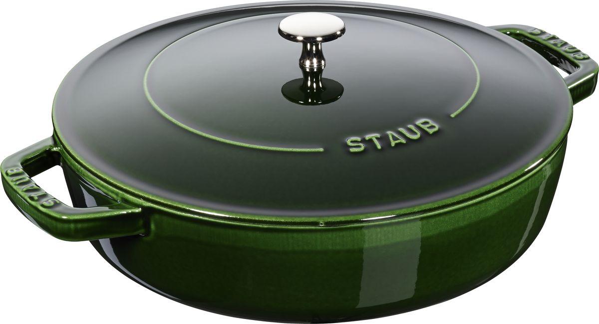 Сотейник Staub Чистера с крышкой, цвет: зеленый, 3,7 л12612885Изготовлен из чугуна, покрытого эмалью снаружи и внутри. Подходит для использования на всех типах плит и в духовке. Перед первым использованием снять этикетки, тщательно вымыть горячей водой с мыльным средством и высушить, затем нанести немного растительного масла на внутреннюю поверхность посуды, излишки масла удалить салфеткой. Мыть жидким моющим средством, без применения абразивных веществ и металлических губок. Пригоден для мытья в посудомоечной машине. При падении на твердую поверхность посуда может треснуть или разбиться. Металлические кухонные принадлежности могут повредить посуду. Чтобы не обжечься, пользуйтесь прихватками.Избегать резкого нагревания и охлаждения, резкий перепад температуры может привести к повреждению посуды.Адрес изготовителя:Zwilling Staub France S.A.S, 47 bis, rue des Vinaigriers, 75010 Paris, FRANCE (Цвиллинг Стауб Франс С.А.С 47 бис, ру де Винаигриерс, 75010 Париж, Франция)