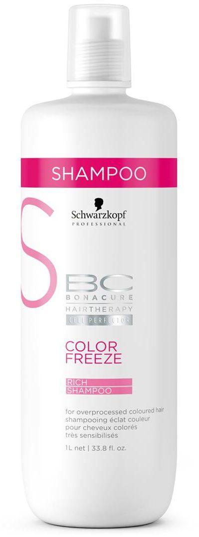 Bonacure Обогащенный Шампунь Color Freeze 1000 мл2065982Обогащенный шампунь, деликатно и эффективно очищает окрашенные волосы и кожу головы. Урепляет структур волос и удерживает оптимальный уровень pH4.5, запечатывает окрашенные волосы и сводит к нулю потерю цвета. Для окрашенных волос. Для достижения максимального результата рекомендуется использовать в комплексе с продуктами ухода линии BC Color Freeze
