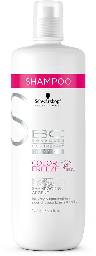 Bonacure Сияние Цвета Шампунь, придающий серебристый оттенок волосам Color Freeze Silver 1000 мл2096246Шампунь придающий серебристый оттенок волосым. Деликатно и эффективно очищает окрашенные волосы и кожу головы. Укрепляет структуру волос и удерживает оптимальный уровень pH 4.5, сводит потерю цвета к 0. Нейтрализует теплые оттенки и придает холодный оттенок волосам. Для окрашенных волос. Рекомендуется использовать в комплексе с продуктами ухода линейки BC Color Freeze
