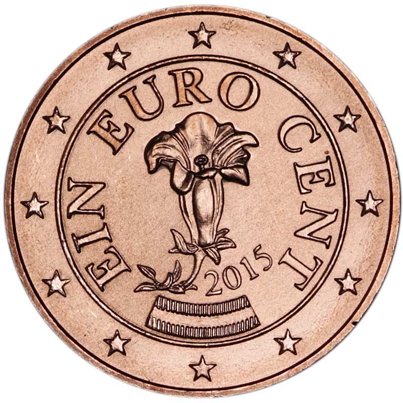 Монета номиналом 1 евроцент.  Сталь, медь, Австрия.  2015 год Munze Osterreich